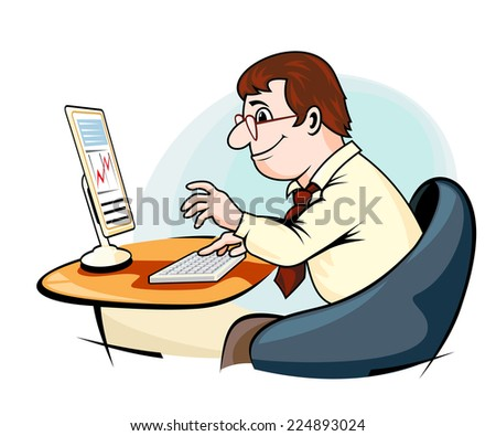 Smiling businessman in cartoon style working on computer - stock vector