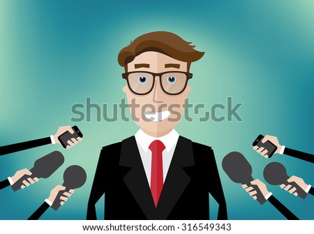 smiling businessman interviewed several journalists with microphones