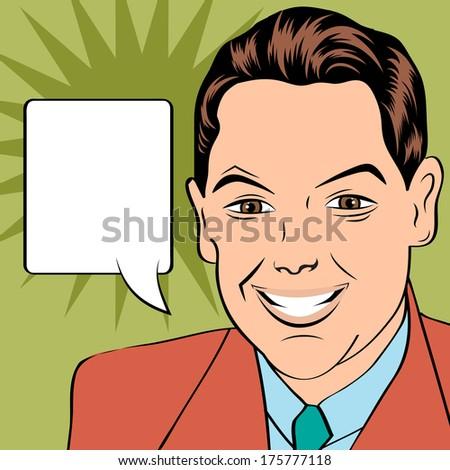 smiling businessman, pop art style illustration in vector format - stock vector