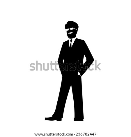 smiling businessman silhouette