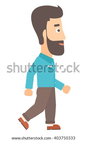 Smiling businessman walking