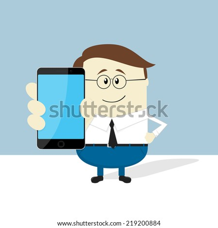 smiling businessman with smart phone showing blank screen