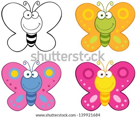 Smiling Butterflies Cartoon Mascot Characters. Vector Collection Set - stock vector