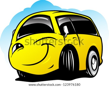 Smiling cartoon bus - stock vector