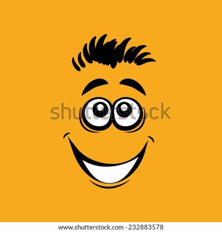 Smiling cartoon face, vector illustration - stock vector