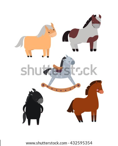 Smiling cartoon horses on white background and cartoon horse vector set. Cute cartoon horse farm animals and cartoon horse happy mane stallion character design. Adorable cartoon horses. - stock vector