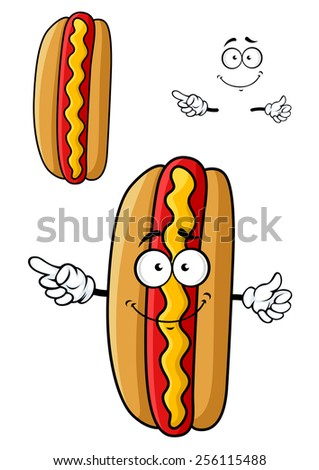 Smiling cartoon hotdog character with fresh bun, red hot sausage and yellow wavy line of mustard for fast food or barbecue party design - stock vector