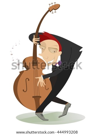 Smiling cellist is playing music  - stock vector