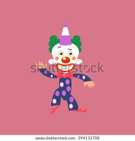 Smiling Clown Greeting Simplified Isolated Flat Vector Drawing In Cartoon Manner - stock vector