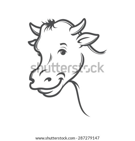 smiling cow,  stylized drawing, vector illustration