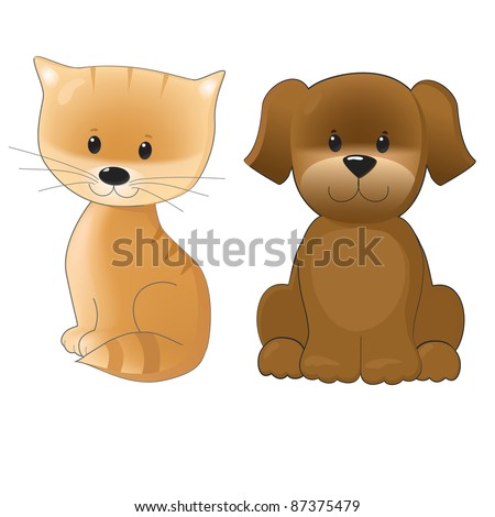 smiling cute kitten and puppy isolated on white background - stock vector