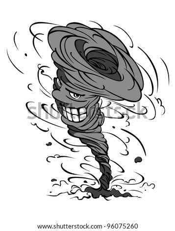 Smiling danger hurricane vortex in cartoon style. Jpeg version also available in gallery. - stock vector