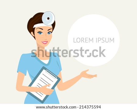 Smiling doctor otolaryngologist with a folder in her left hand demonstrates something - stock vector