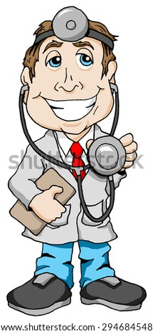Smiling Doctor with a clipboard and stethoscope.