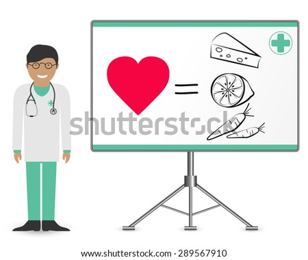 Smiling doctor with a stethoscope and healthy food - stock vector