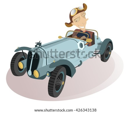 Smiling driver. Smiling man drives a retro car   - stock vector