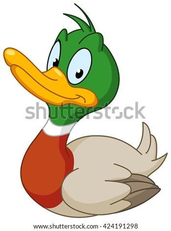 Smiling duck - stock vector
