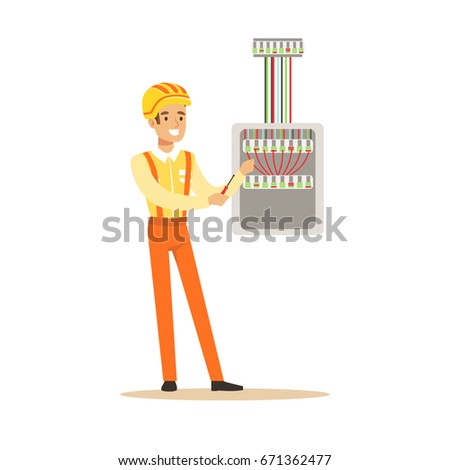 stock vector smiling electrician screwing equipment in fuse box electric man performing electrical works vector 671362477 fuse box stock vectors, images & vector art shutterstock how a fuse box works at mifinder.co