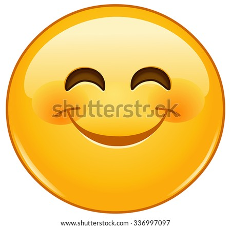 Smiling emoticon with smiling eyes and rosy cheeks