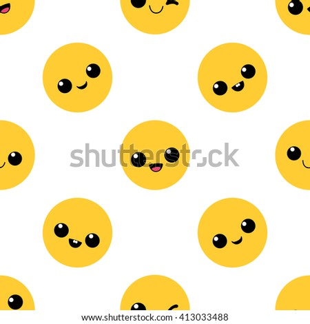 Smiling emoticons. Seamless pattern. - stock vector