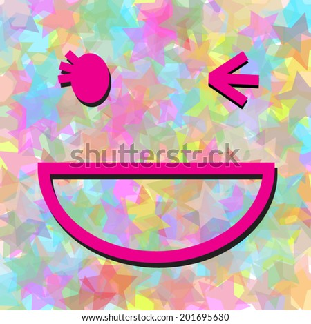 Smiling face cartoon on colorful star background - stock vector