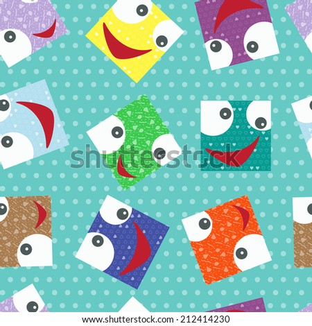 Smiling face. Funny square face seamless pattern. Kids background. - stock vector