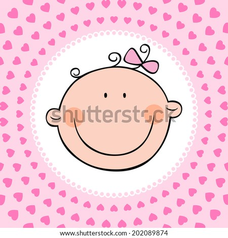 Smiling face of newborn baby girl. Vector illustration.