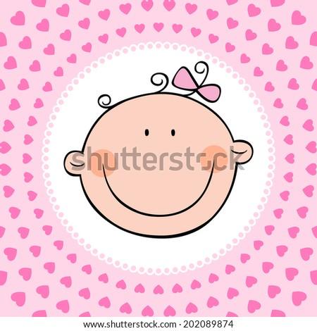 Smiling face of newborn baby girl. Vector illustration. - stock vector