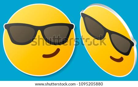 smiling face with sunglasses emoji emoticon with smiling face wearing dark sunglasses that is used