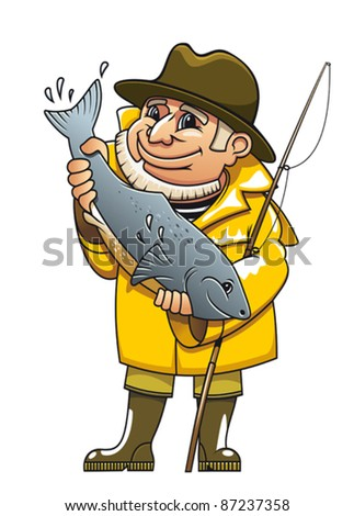 Smiling fisherman in cartoon style catching a fish. Rasterized version also available in gallery - stock vector