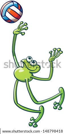 Smiling flexible frog playing volleyball, jumping and preparing to vigorously hit the ball and go for an overhead smash - stock vector