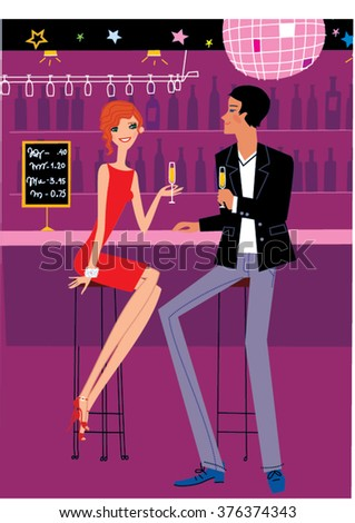 Smiling girl and man flirting in the bar. How to Flirt at the night club vector  illustration. Woman and man flirting in the bar. Date in bar. Meet in bar. Couple meeting in a club.