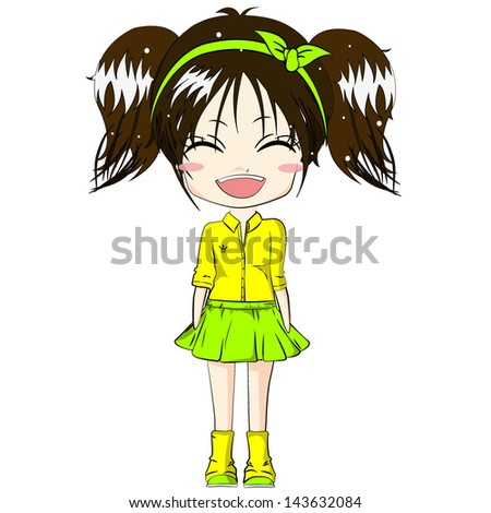 Smiling girl Cute girl Cartoon character on white background Vector illustration Little girl - stock vector