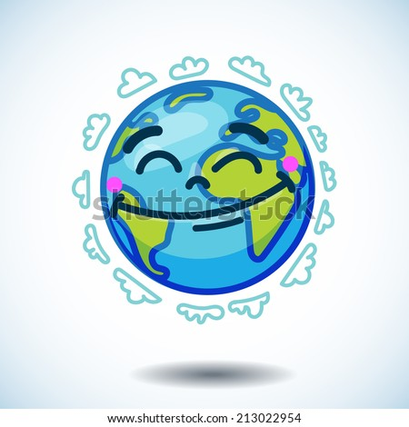 Smiling globe (Earth) in cartoon doodle style with pink flower on her head and clouds in the sky. For design, posters, cards, flyers, websites - stock vector