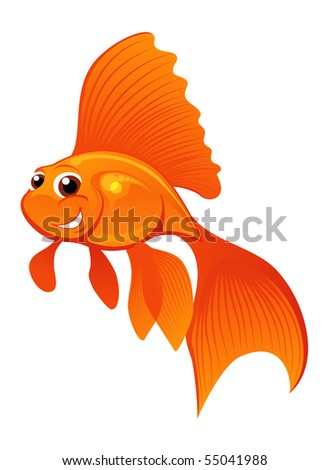 smiling goldfish isolated on white - stock vector