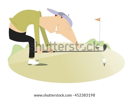 Smiling golfer aiming to do a good shot - stock vector