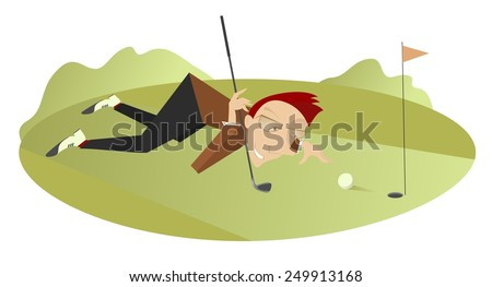 Smiling golfer is aiming to the hole      - stock vector