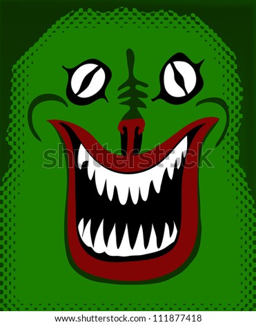 smiling green monster - stock vector