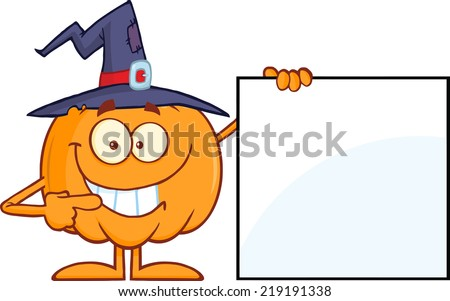Smiling Halloween Pumpkin With A Witch Hat Mascot Character Showing A Blank Sign - stock vector