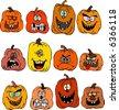 Smiling Halloween Pumpkins - stock vector