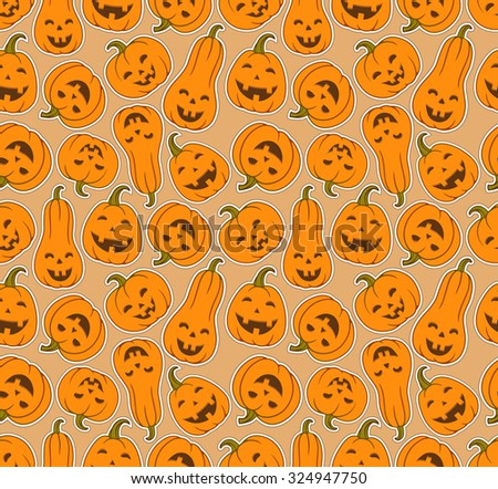 smiling halloween pumpkins funny seamless pattern