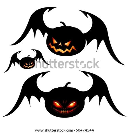 Smiling Halloween pumpkins with wings - black isolated on white (vector) - stock vector