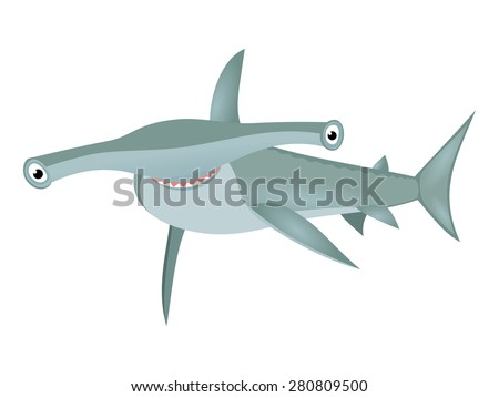 Smiling hammerhead shark Big bizarre fish cartoon character isolated on white background Cartoon big grey shark Sea life theme Great for kids illustration, t shirt stamp, animal and wildlife design  - stock vector