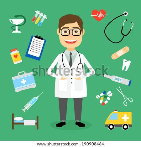 Smiling happy male doctor with glasses surrounded by medical icons with an ambulance  stethoscope  first aid kit  hypodermic  syringe  test  tubes  chart  heartbeat  pulse  heart  pills  tablets - stock vector