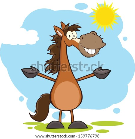Smiling Horse Cartoon Mascot Character With Open Arms Over Landscape. Vector Illustration  - stock vector