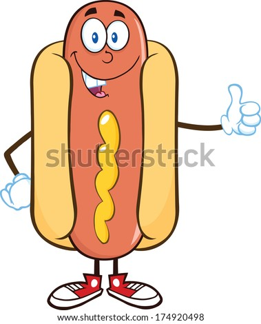 Smiling Hot Dog Cartoon Mascot Character Showing A Thumb Up. Vector Illustration Isolated on white - stock vector