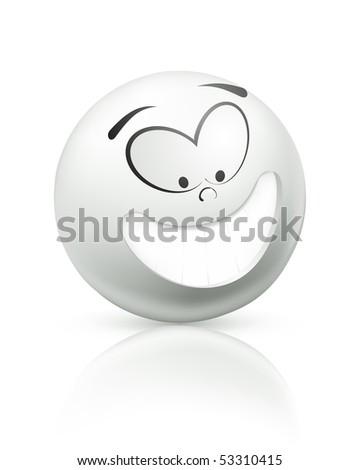 Smiling icon, white - stock vector