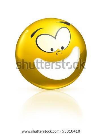 Smiling icon, yellow - stock vector