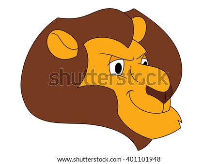 Smiling lion head - stock vector