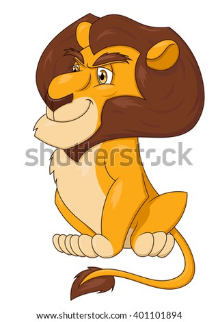 Smiling lion sitting 2 - stock vector